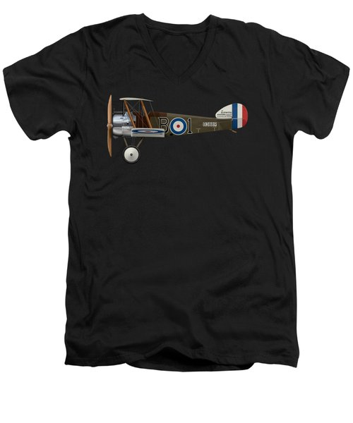 Sopwith Camel - B3889 - Side Profile View Men's V-Neck T-Shirt by Ed Jackson