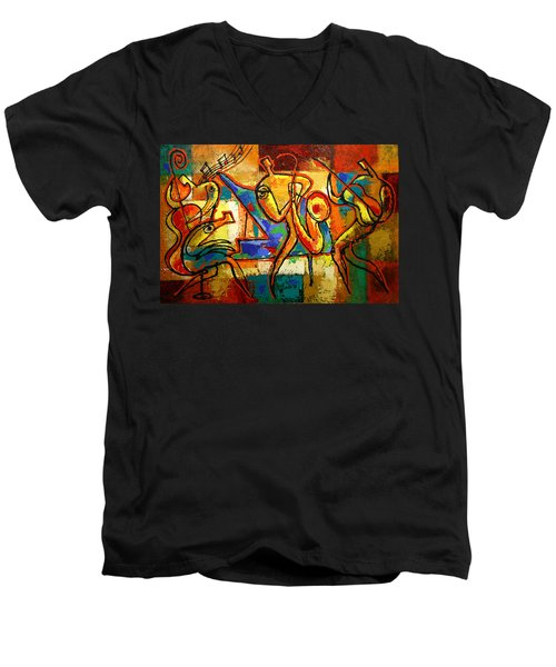Soul Jazz Men's V-Neck T-Shirt by Leon Zernitsky