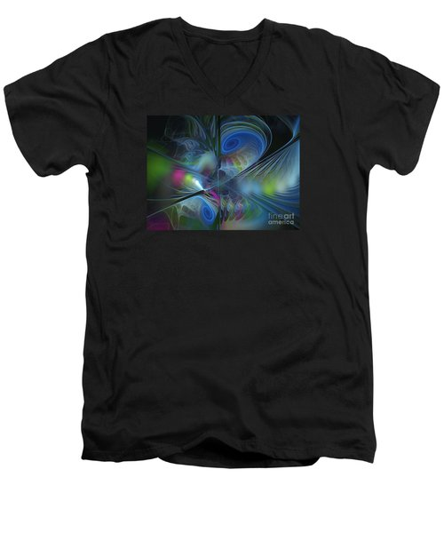Men's V-Neck T-Shirt featuring the digital art Sound And Smoke by Karin Kuhlmann
