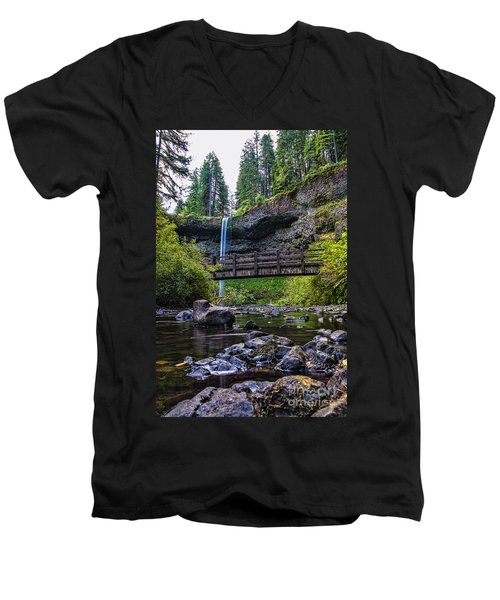 South Silver Falls With Bridge Men's V-Neck T-Shirt by Darcy Michaelchuk
