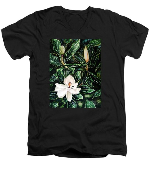 Southern Magnolia Bud And Bloom Men's V-Neck T-Shirt by Patricia L Davidson