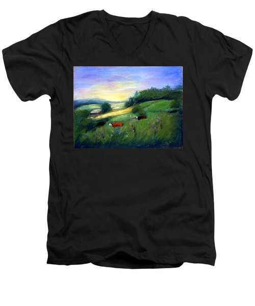 Men's V-Neck T-Shirt featuring the painting Southern Ohio Farm by Gail Kirtz