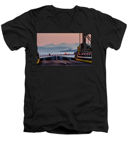 Southworth Ferry Terminal - End Of State Highway 160 Men's V-Neck T-Shirt by E Faithe Lester