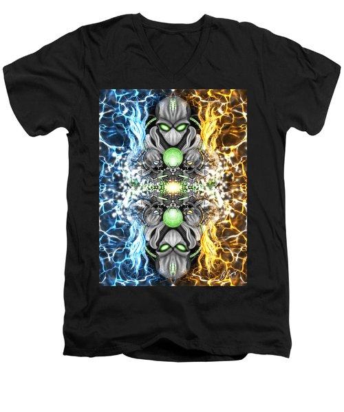 Space Alien Time Machine Fantasy Art Men's V-Neck T-Shirt