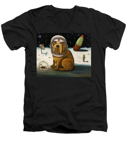 Space Crash Men's V-Neck T-Shirt by Leah Saulnier The Painting Maniac