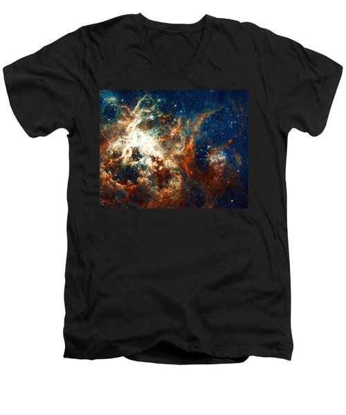 Space Fire Men's V-Neck T-Shirt by Jennifer Rondinelli Reilly - Fine Art Photography