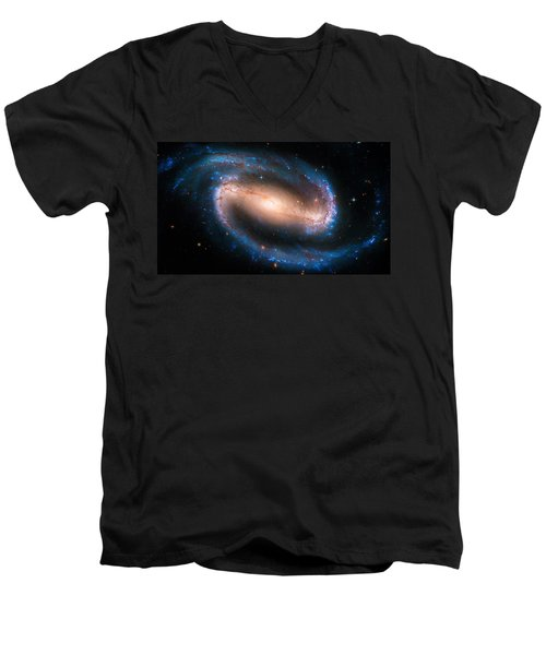 Space Image Barred Spiral Galaxy Ngc 1300 Men's V-Neck T-Shirt by Matthias Hauser