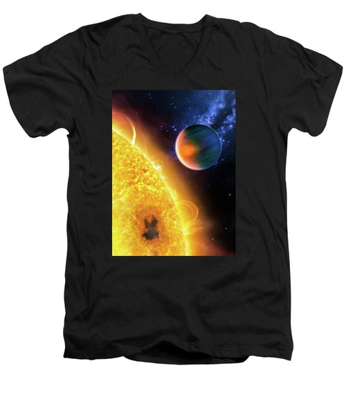 Men's V-Neck T-Shirt featuring the photograph Space Image Extrasolar Planet Yellow Orange Blue by Matthias Hauser