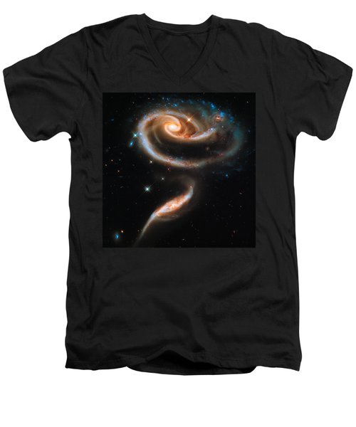 Space Image Galaxy Rose Men's V-Neck T-Shirt