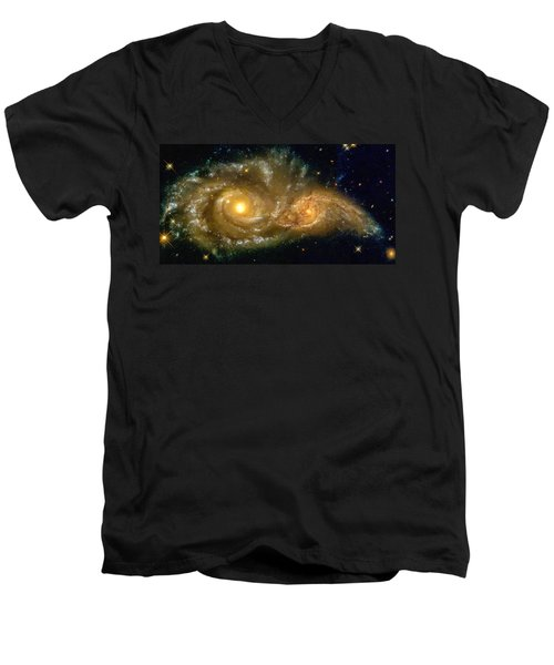 Men's V-Neck T-Shirt featuring the photograph Space Image Spiral Galaxy Encounter by Matthias Hauser