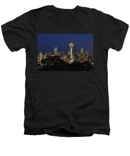 Men's V-Neck T-Shirt featuring the photograph Space Needle by David Chandler