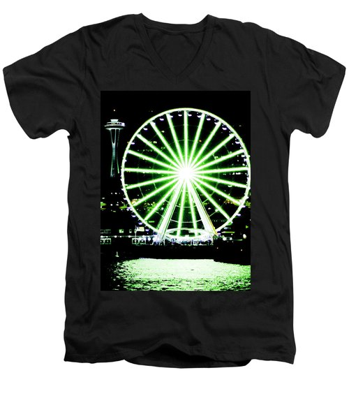 Space Needle Ferris Wheel Men's V-Neck T-Shirt