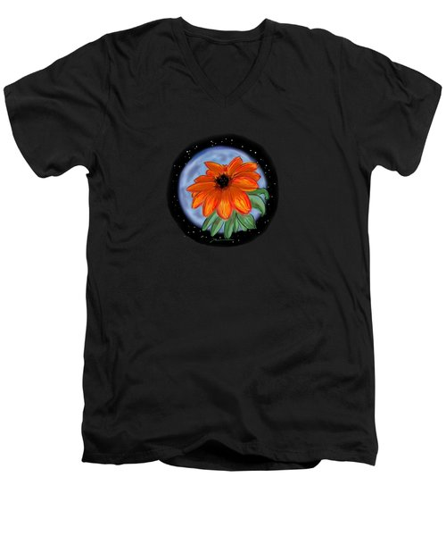Space Zinnia On Black Men's V-Neck T-Shirt by Jean Pacheco Ravinski