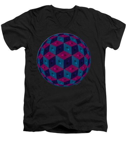 Spherized Pink Purple Blue And Black Hexa Men's V-Neck T-Shirt