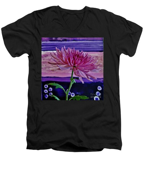 Men's V-Neck T-Shirt featuring the photograph Spider Mum With Abstract by Marsha Heiken