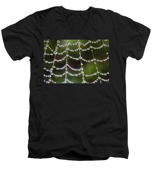 Men's V-Neck T-Shirt featuring the photograph Spider Web Decorated By Morning Fog by William Lee