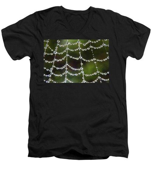 Spider Web Decorated By Morning Fog Men's V-Neck T-Shirt