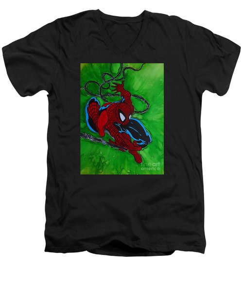 Spiderman 301 Illustration Edition Men's V-Neck T-Shirt