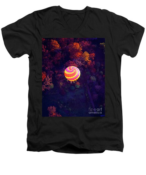 Spiral Colored Hot Air Balloon Over Fall Tree Tops Mchenry   Men's V-Neck T-Shirt