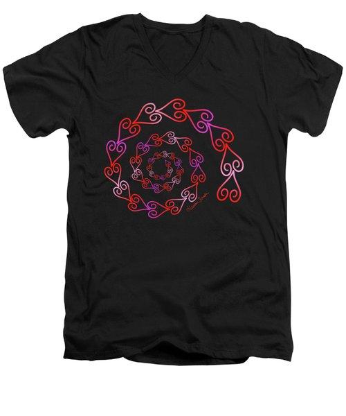 Spiral Of Hearts Men's V-Neck T-Shirt