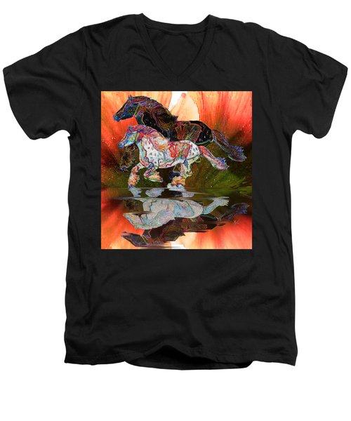 Spirit Horse II Leopard Gypsy Vanner Men's V-Neck T-Shirt by Michele Avanti