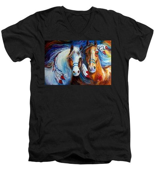 Spirit Indian War Horses Commission Men's V-Neck T-Shirt
