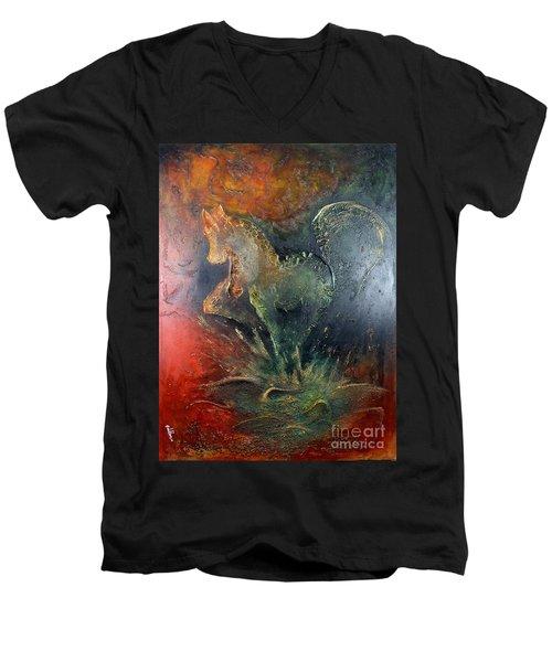 Spirit Of Mustang Men's V-Neck T-Shirt by Farzali Babekhan