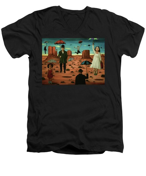 Men's V-Neck T-Shirt featuring the painting Spirits Of The Flying Umbrellas 3  by Leah Saulnier The Painting Maniac