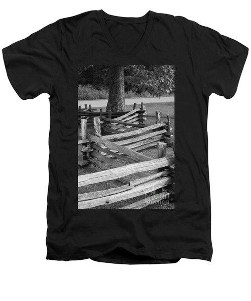 Split Rail Fence Men's V-Neck T-Shirt by Eric Liller