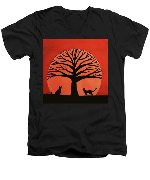 Spooky Cat Tree Men's V-Neck T-Shirt