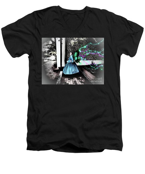Spooky Historic Butterfly Dahlonega  Men's V-Neck T-Shirt