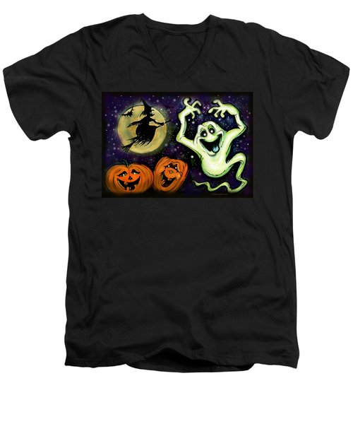 Men's V-Neck T-Shirt featuring the painting Spooky by Kevin Middleton