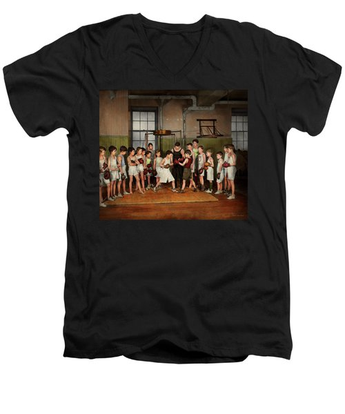 Men's V-Neck T-Shirt featuring the photograph Sport - Boxing - Fists Of Fury 1924 by Mike Savad