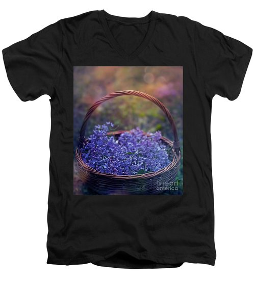 Spring Basket Men's V-Neck T-Shirt by Agnieszka Mlicka