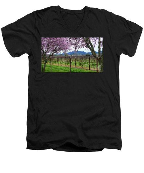 Spring Blossoms Near Calistoga Men's V-Neck T-Shirt