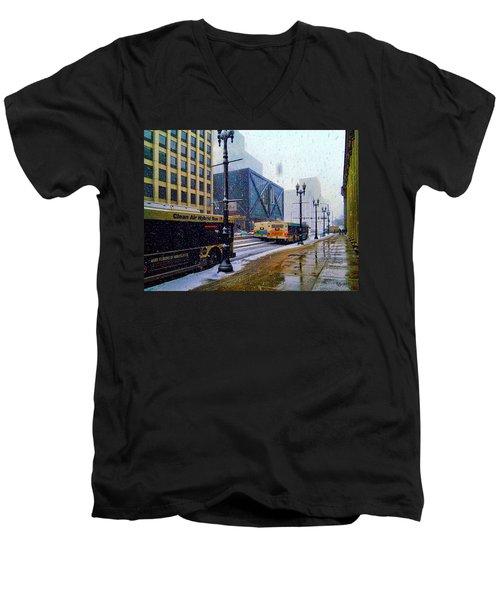 Spring Day In Chicago Men's V-Neck T-Shirt by Dave Luebbert