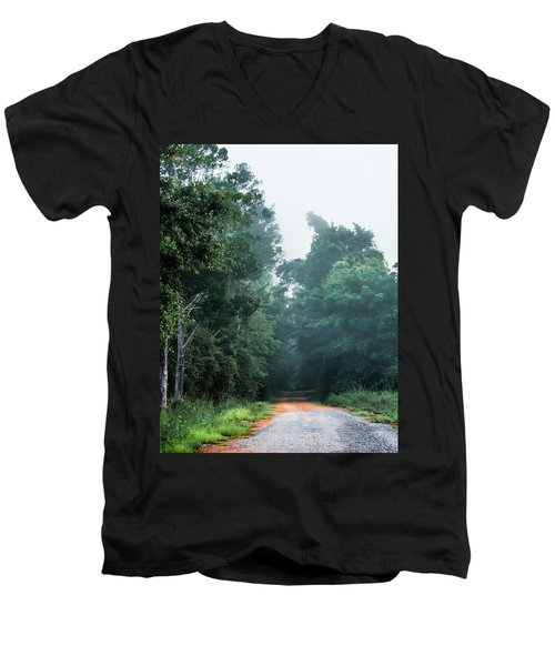 Men's V-Neck T-Shirt featuring the photograph Spring Dirt Road by Shelby Young