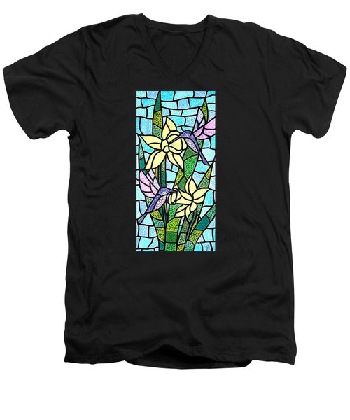 Men's V-Neck T-Shirt featuring the painting Spring Fling by Jim Harris