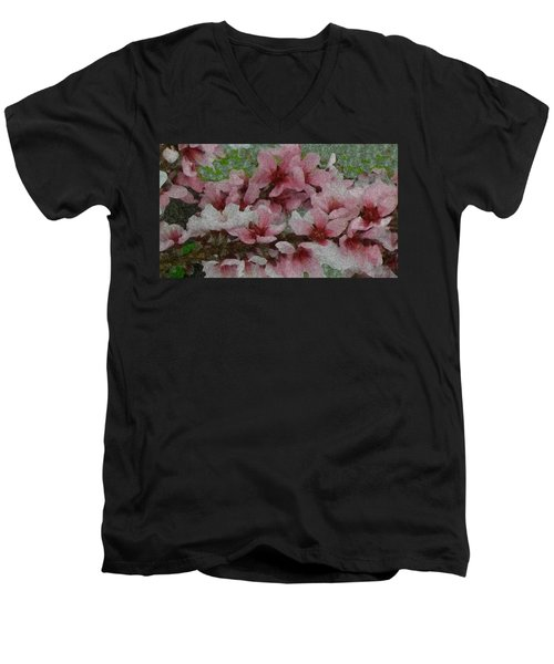 Spring Peach Blossoms Men's V-Neck T-Shirt by Donna G Smith