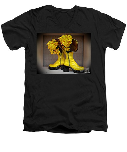 Spring In Yellow Boots Men's V-Neck T-Shirt by AmaS Art