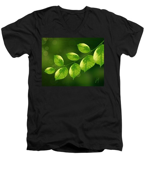 Men's V-Neck T-Shirt featuring the painting Spring Life by Veronica Minozzi