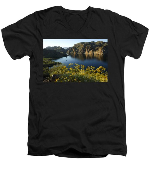 Spring Morning At The Lake Men's V-Neck T-Shirt by Sue Cullumber