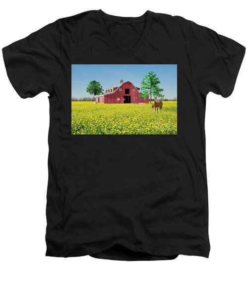 Spring On The Farm Men's V-Neck T-Shirt by Bonnie Barry
