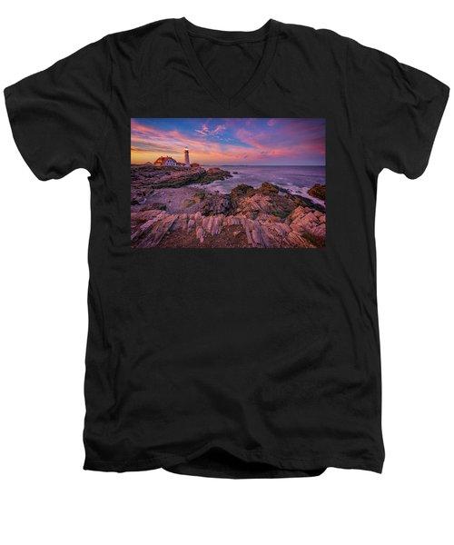 Spring Sunset At Portland Head Lighthouse Men's V-Neck T-Shirt by Rick Berk