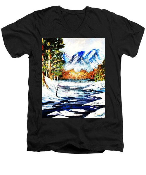 Men's V-Neck T-Shirt featuring the painting Spring Thaw by Al Brown