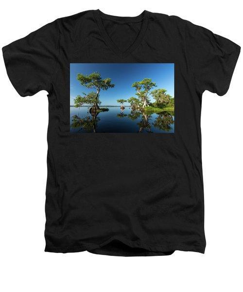 Spring Vistas At Lake Disston Men's V-Neck T-Shirt