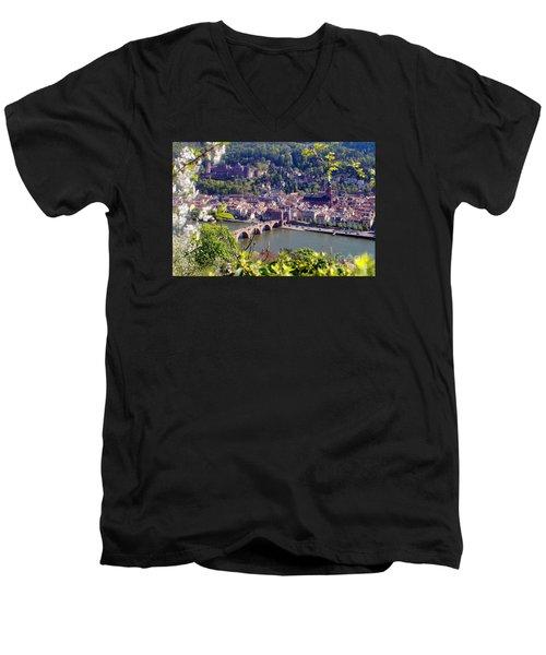 springtime in Heidelberg Men's V-Neck T-Shirt by Rudi Prott
