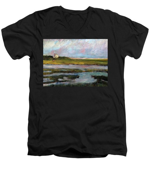 Men's V-Neck T-Shirt featuring the painting Springtime In The Marsh by Michael Helfen