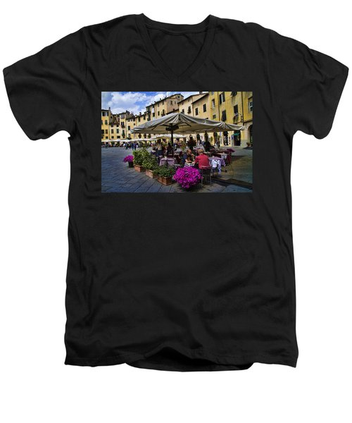 Square Amphitheater In Lucca Italy Men's V-Neck T-Shirt