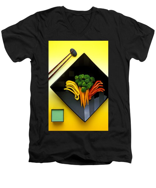 Square Plate Men's V-Neck T-Shirt by Garry Gay